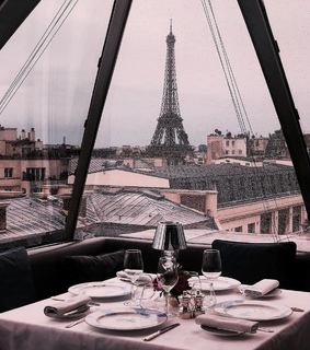 rose gold, dinner and eiffel tower