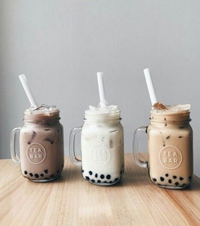 milk, liquid and tapioca pearls black