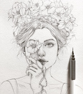 flowers, beauty and sketch