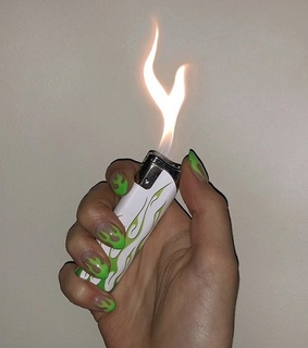 lime green, flame and lighter