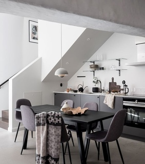 kitchen, living room and bedroom