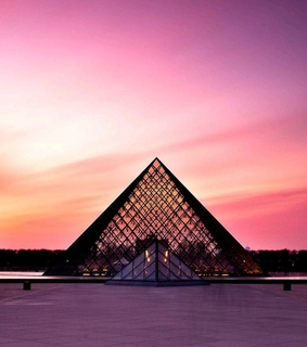 louvre pyramid, sunset and orange