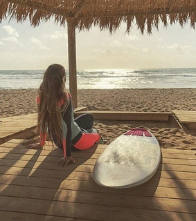 girl, surf and board