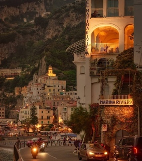 travel, italy and golden hour