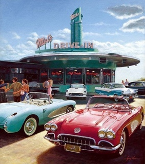 cafe, car and 60s