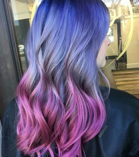 purple, long hair and colours