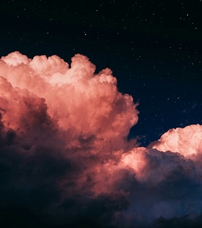 pink, night and cloud