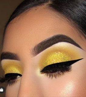 makeup, yellow and glitters