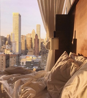 bedroom, city and house