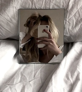 iphone, blonde hair and mirror