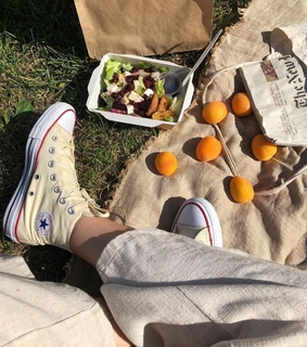 fruit, shoes and salad