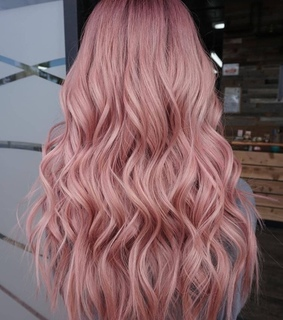 pink hair, light pink and long