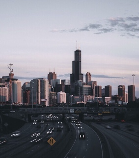 buildings, cars and roads