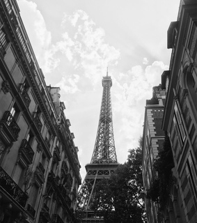 black and white, france and eiffel tower