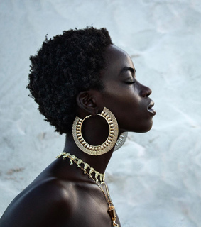 black woman, fashion model and black is beautiful