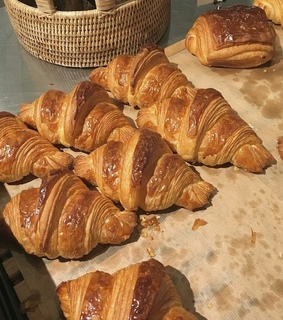 french breakfast, butter croissant and breakfast