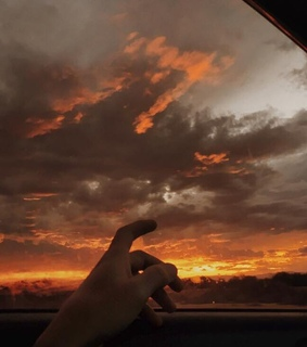 sky, hand and fingers