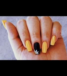 black, yellow and flower nails