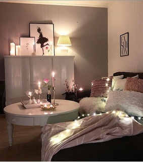 rose, maison and lights