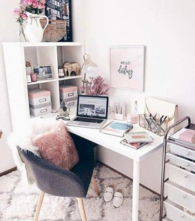 white, pink and office