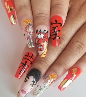 long nails, nail art and mulan