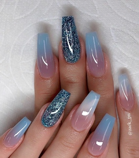 nails, blue and ombre