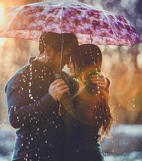 rain, hug and couple