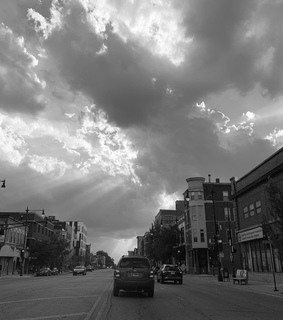 downtown, white and sun rays