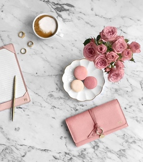 work, coffee and pink