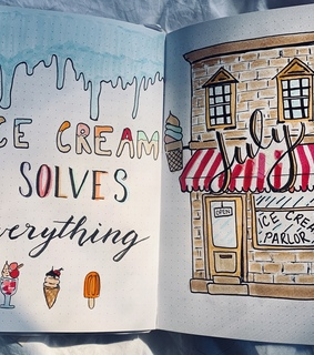 ice cream, bujo ideas and cover