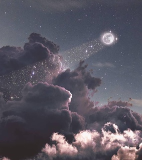 glitter, moon and grey