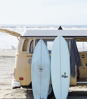 waves, campervan and discover