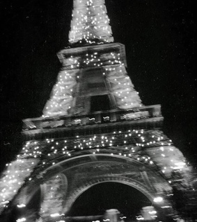 lights, eiffel tower and black and white