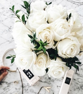 white, bouquet and marble