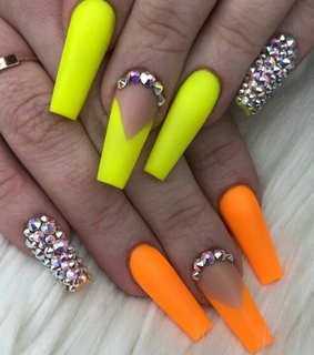 neon nails, beauty and nails