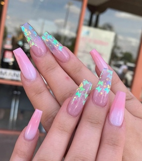 pink, nails and holographic