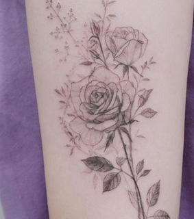 ink, roses and flowers