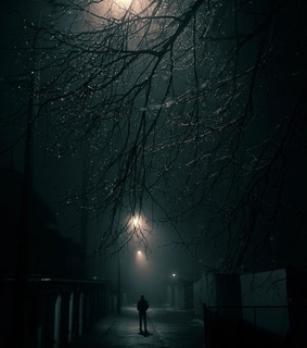 moody, street lights and path