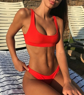 red swimsuit, summer and tan