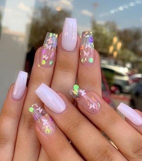 clear nails, girly and cute