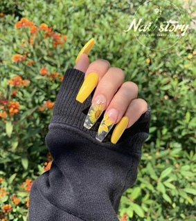 yellow, acrylic and nails