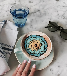 blue, breakfast and coffee