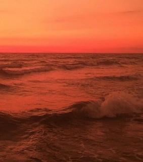 sunset, orange sunset and waves