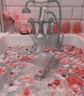 water, rose gold and flowers