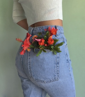 jeans, photography and flowers