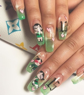 powerpuff girls, nails and green nails