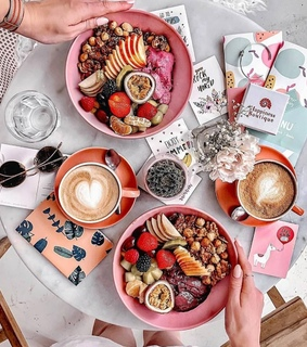 pink, breakfast and cup of coffee