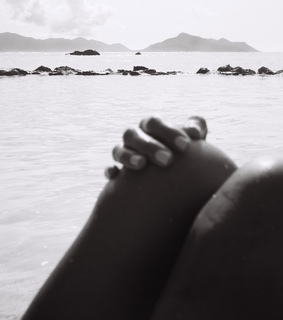 black and white, beach and girl