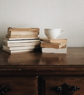 beige, books and coffee
