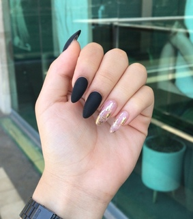 black mate nails, black casio and long nails